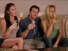 Super kewl swinger party starts right after a duo wine glasses