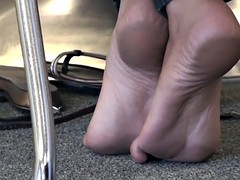 Candid Sexy Feet & Soles in College Library