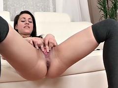 Bigtaco schoolgirl pissing after dildo fun