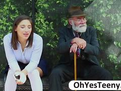 Teen Abella Danger gives a blowjob to a big cock guy public sex