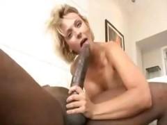 Blonde Brinna Beach takes on Mandingo's extremely sizeable black purple rod