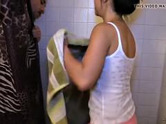 cfnm girlfriend tugs boyfriend after shower