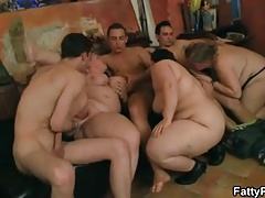 Group BBW orgy in the bar