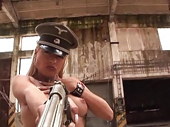 BAD BAD GIRL - dominant blonde in leather uniform teases