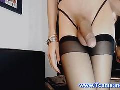 Skinny Shemale Jerking Her Big Cock