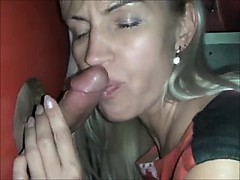 Inexperienced blondie mummy blows stranger at gloryhole one