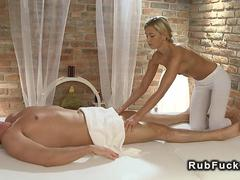 Blonde hottie riding her masseurs hard dick like a cowgirl