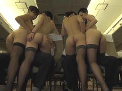 Four Asian stewardesses are ready to please these hunks