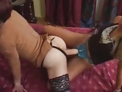 Sissy strapon fucked  by a duo milfs