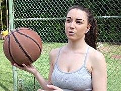 Ball chick giving blowjob black cock