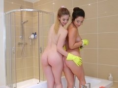 Two alluring babes have same-sexed act instead of cleaning