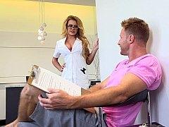 Big-breasted blonde nurse