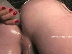 Brunette porn model dressed in army panties and tight blouse slapping and torturing man in Men in pain female domination sex website movie scene