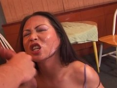 Hard face fucking of an Asian slut in a sexy lace bra