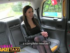 Female Fake Taxi Horny busty babes in taxi lesbian backseat orgasms
