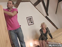 Blonde mommy jumps on his cock