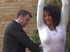 Extra brit submissive facialized before being drenched