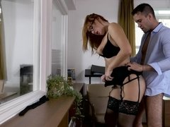 Insidious redhead is fucked from behind by her boss