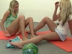 Charming blonde lesbo teens