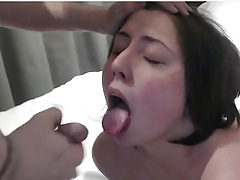 Cute chubby girl gets a mouth shot