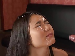 Huge cum shot on Asian girl