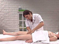 Massage sex then cum on navel