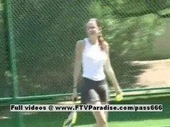 Erika lovely amateur redhead doll posing her bra buddies and additionally unclothing her panties on the tennis court