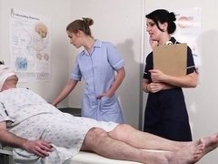 Threeway nurse facialized with huge load