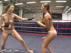 Peaches & Debbie White are fighting for superiority in a rough naked wrestling