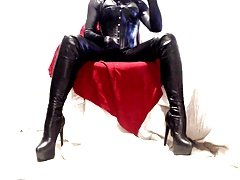 Shiny all over with thigh boots leather pvc