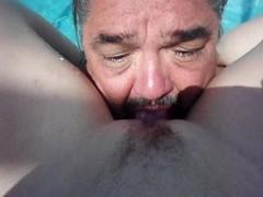 eating a vernal shaved twat pool side