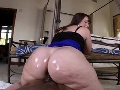 Monster ass BBW riding black dick in POV and milking him