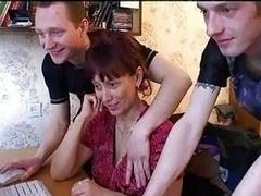 Russian Mom Gang-fucked