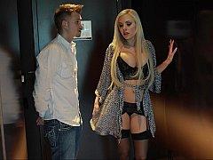 Blonde Pornstar Nina Elle escorting me