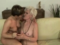Granny and besides young gal adoring hot lesby sex