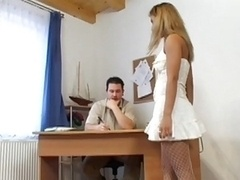 she shows him her new dress and besides hirsute fuck hole