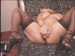 Excited Blonde In High Heels Squirting Lot...