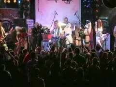 korrozia metalla rock concert stage trio ladies nude striptease