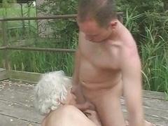 Granny Norma Fucks & Gives bj Outdoors
