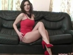 Red heels & busty strip
