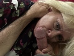 A hardcore granny ends up in the prone position, fucked hard