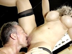 Blonde lady isn't ready to stop while having sex with stallion