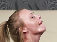 Inked British dilettante facialized point of view after bj