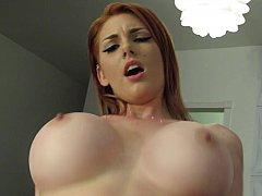 Busty redhead girlfriend having sex on camera