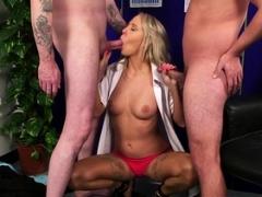 British ball cream babe sucks ramrods in 3some