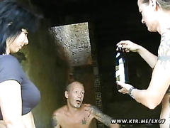 Inexperienced outdoor 3 way activity with facial cumshot cum shot