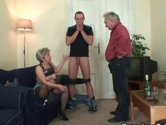 Nasty granny takes a pair of fuck poles at a single time