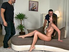 Euro babe seduced by two guys