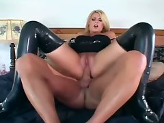Blonde female cop making love in gloves and furthermore stockings