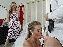 アメリカ人, ベッドルーム, ブロンド, 結婚, ドレス, 家族, 三人, 結婚式